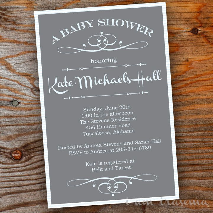 Sophisticated Gray Baby Shower Invitation. $15.00, via Etsy. | Grey ...
