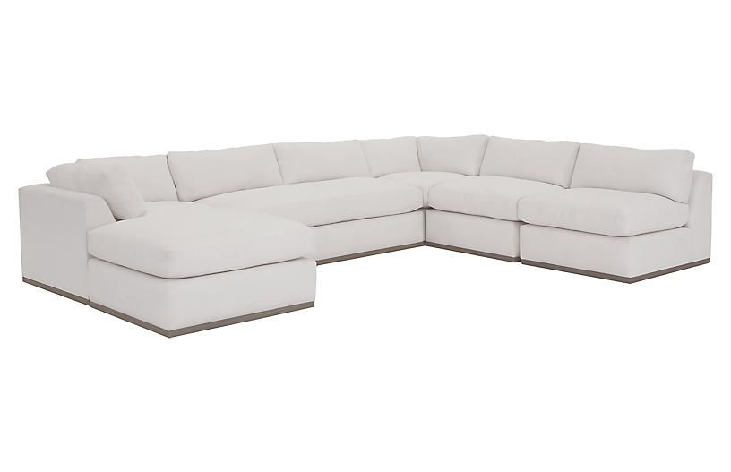 Admirable Pratt 5 Pc Sleeper Sectional White Crypton One Kings Lane Pabps2019 Chair Design Images Pabps2019Com