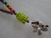 Perlen-Kette Braun/Bunt mit Blume,Om u.  Buddha