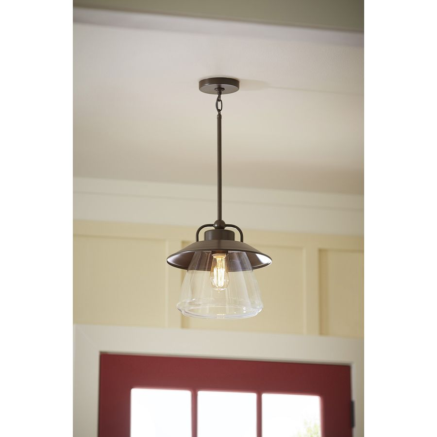 Lowes Pendant Lights For Kitchen Magnificent Shop Allen  Roth Bristow 12In W Mission Bronze Pendant Light With Design Decoration
