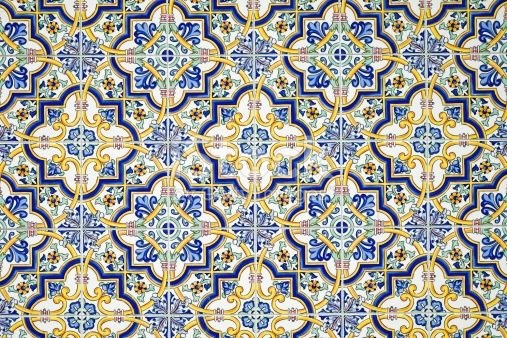 Background From A Typical Andalusian Tiled Wall Wand Bath And Walls - Andalusische fliesen