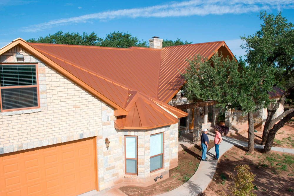 Bright Copper 2 Metal Roofing Photos Mueller Inc Metal Buildings Metal Roof Corrugated Metal Roof