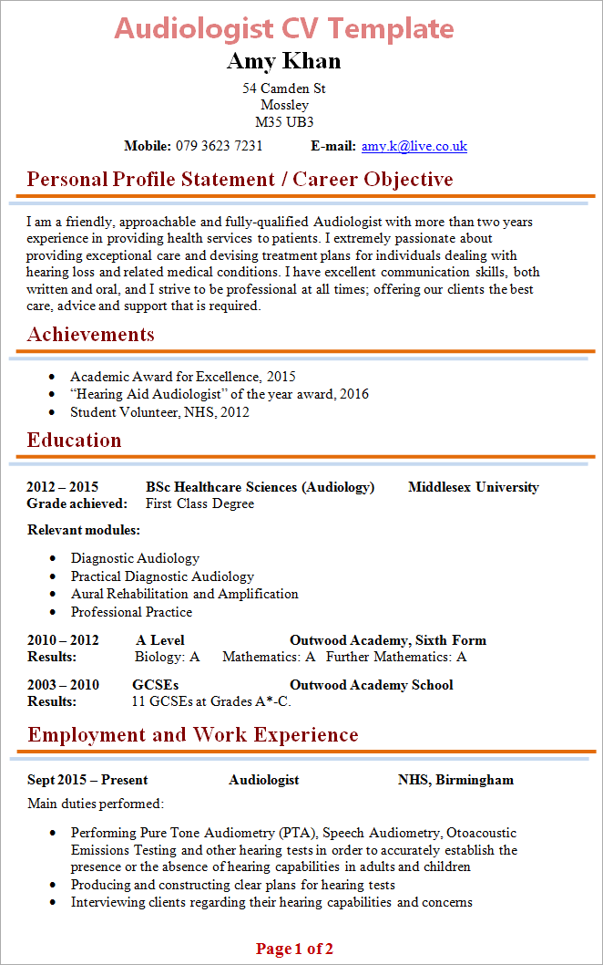 collection of cv template after gcse
