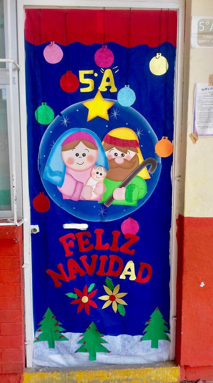 Puerta feliz navidad fo mi decoracion puertas for Puertas decoradas de navidad para preescolar