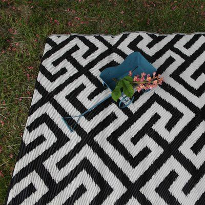 Green Decore Black/White Indoor/Outdoor Area Rug Rug Size: 5' x 8'