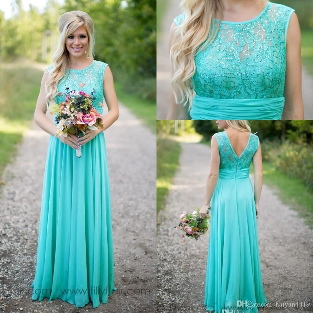 2017 cheap country turquoise mint bridesmaid dresses illusion neck 2016 country fantasy turquoise bridesmaid dresses illusion neck sequines lace top chiffon long plus size maid ombrellifo Images