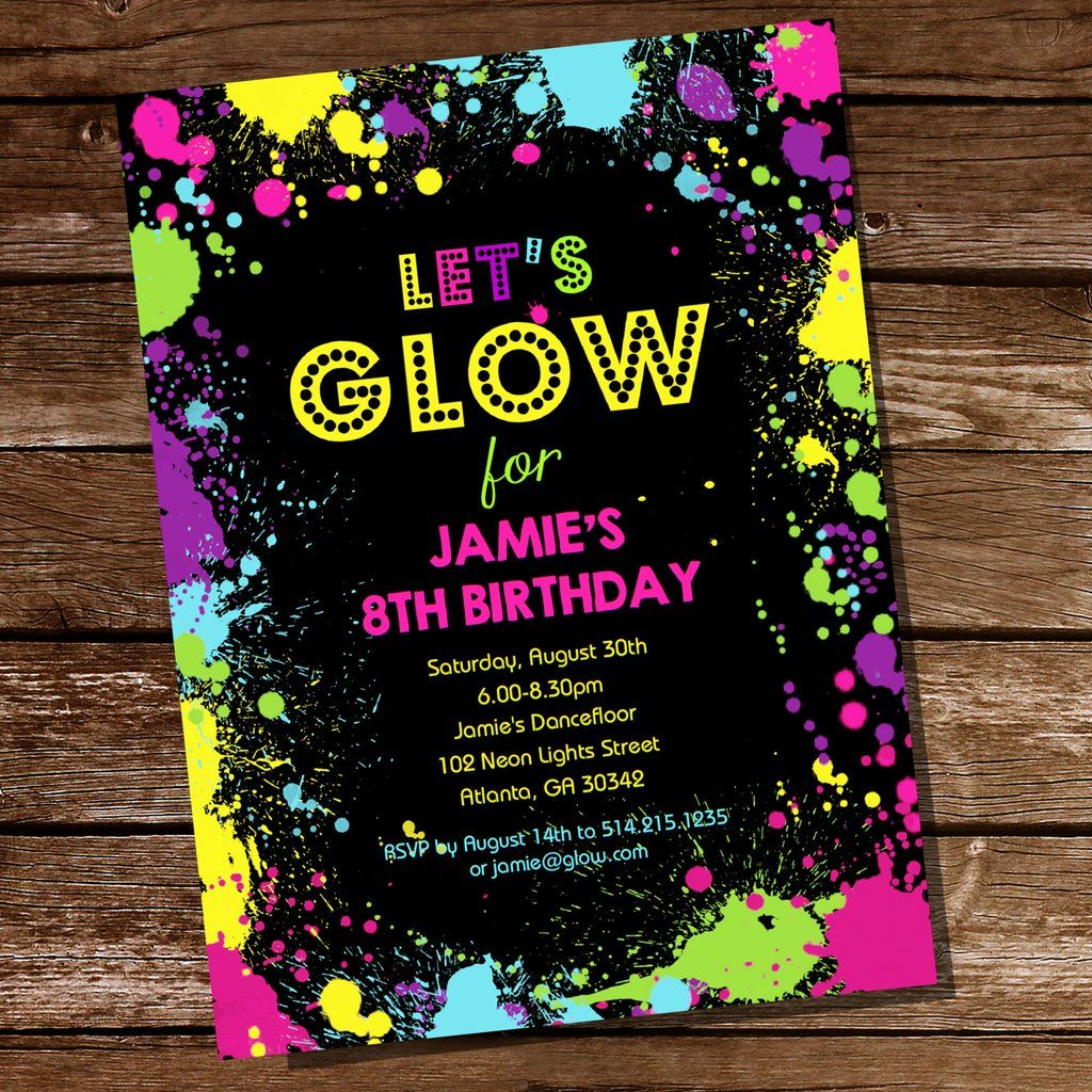 Let\'s Glow Neon Party Invitation | Tween Party Invitation | Neon ...