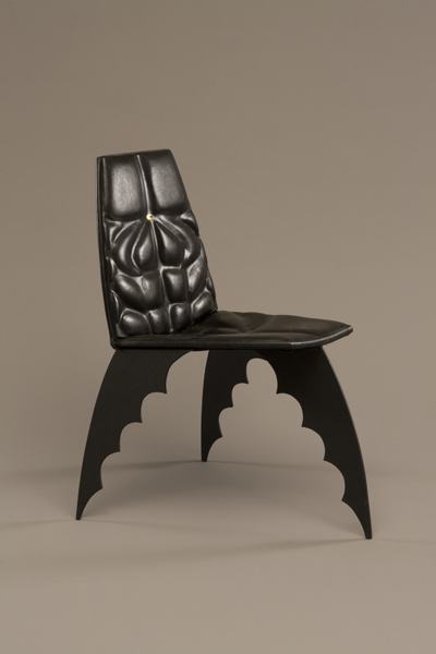 The Batman Chair Alex Locadia, 1989, Leather, Steel, Wood, Paint, Photo