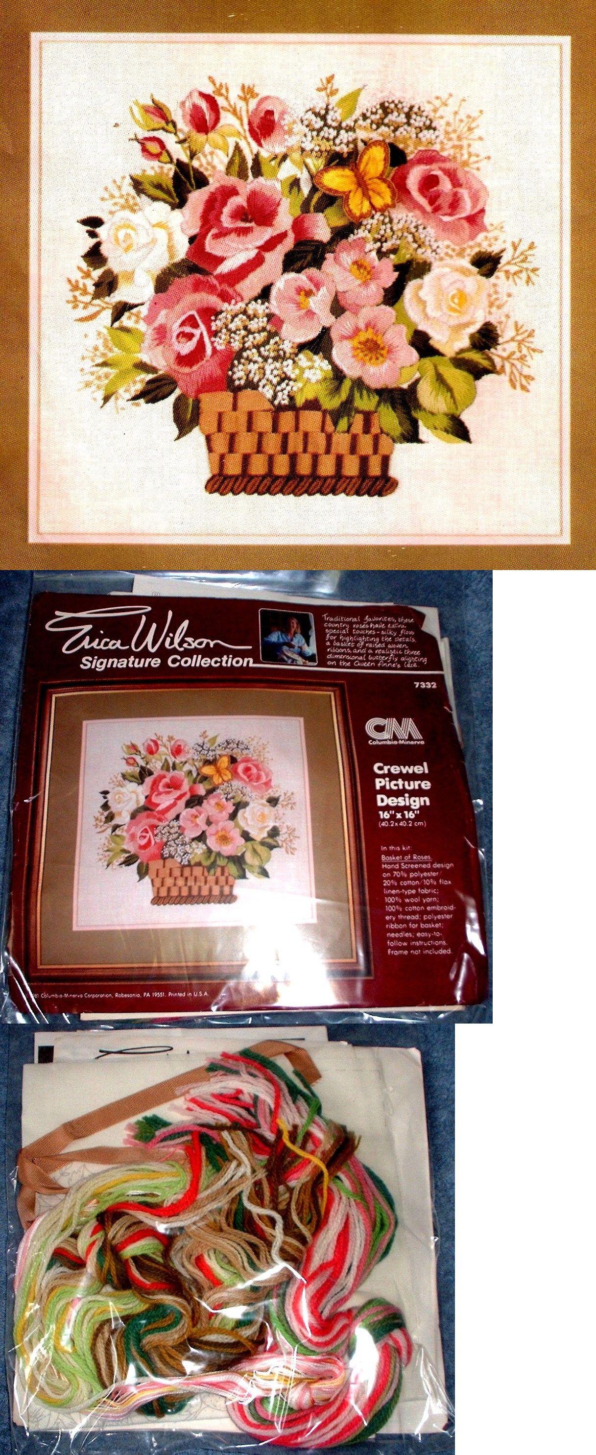 Crewel embroidery kits vintage erica wilson basket of roses