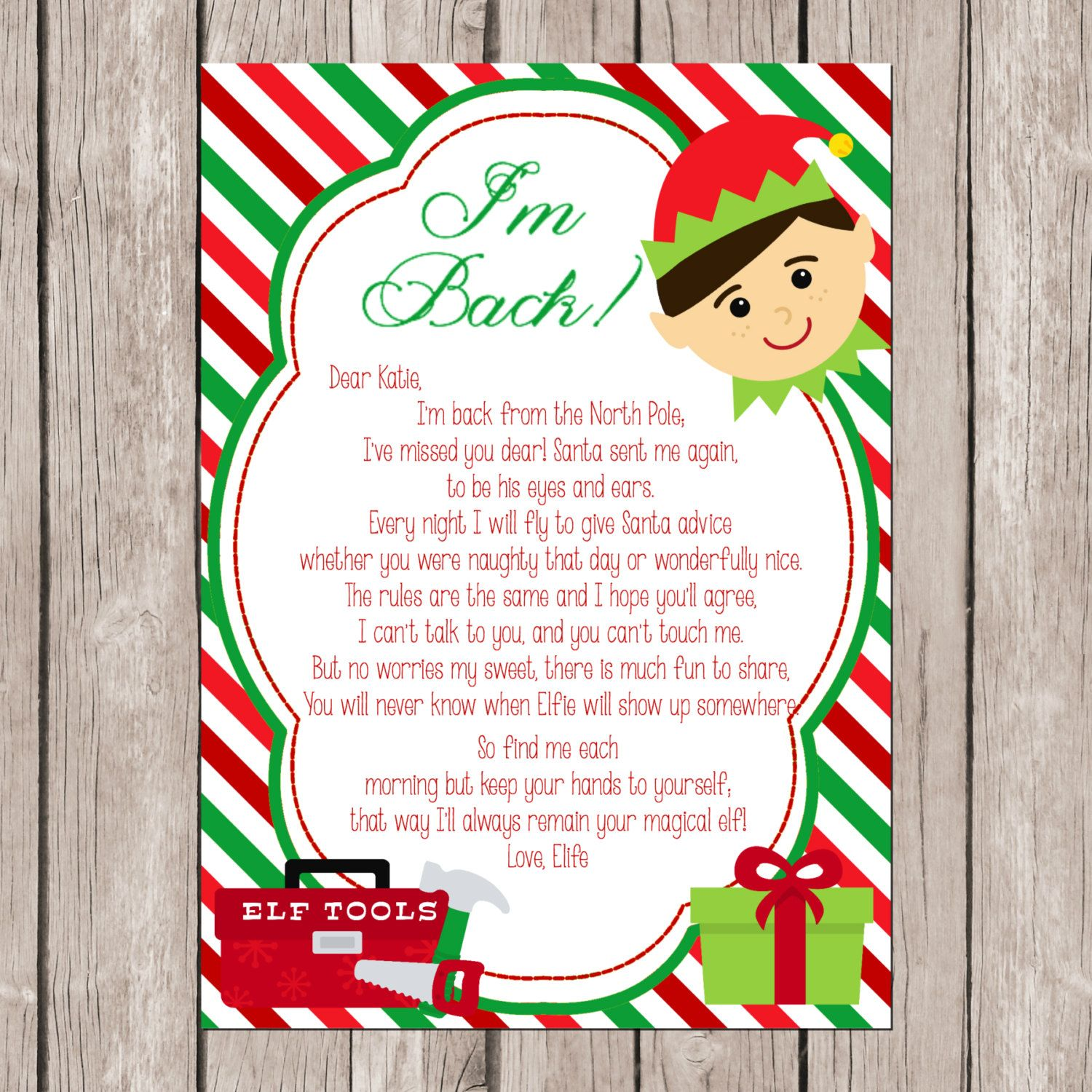 Elf IM Back DiyPrintable Letter  Printable Letters Elves And