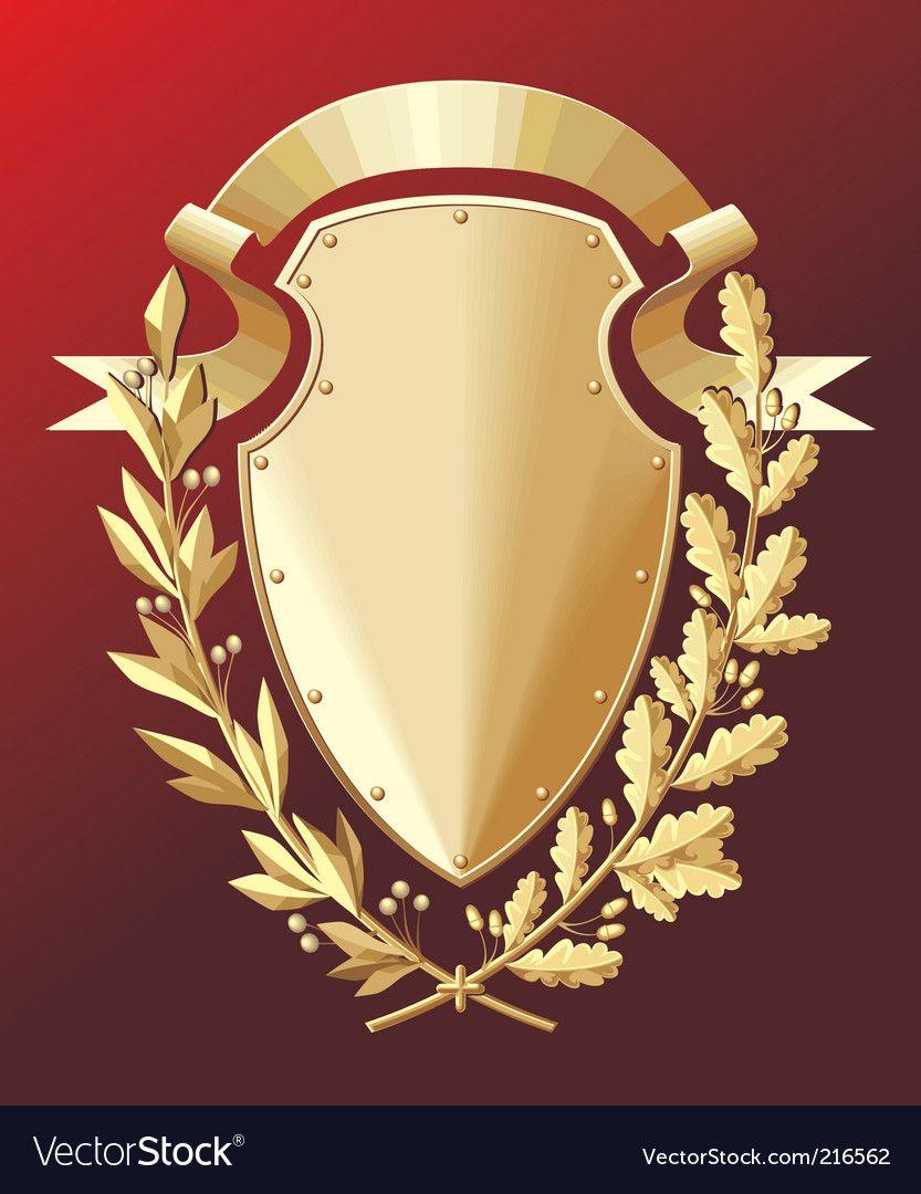 Gold Shield Vector Image On Vectorstock Shield Vector Shield Coat Of Arms