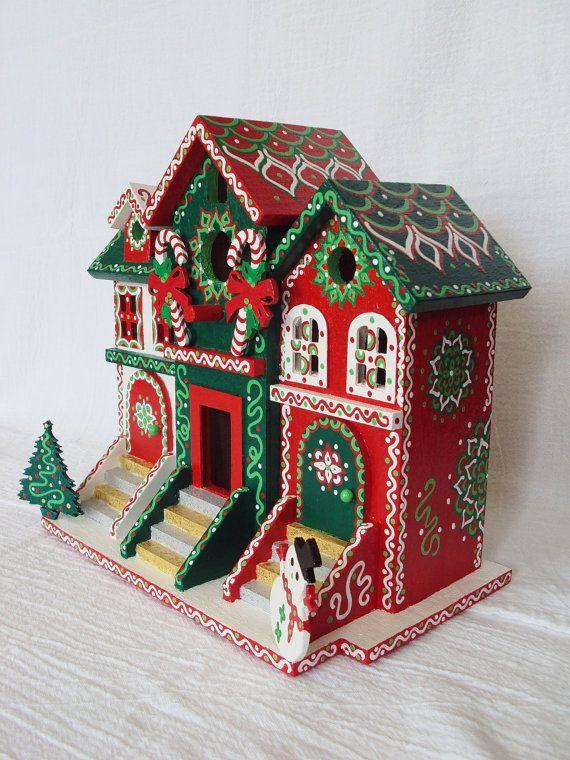 Christmas Birdhouses Crafts.Handpainted Christmas Birdhouse Brownstone By Singingtrees