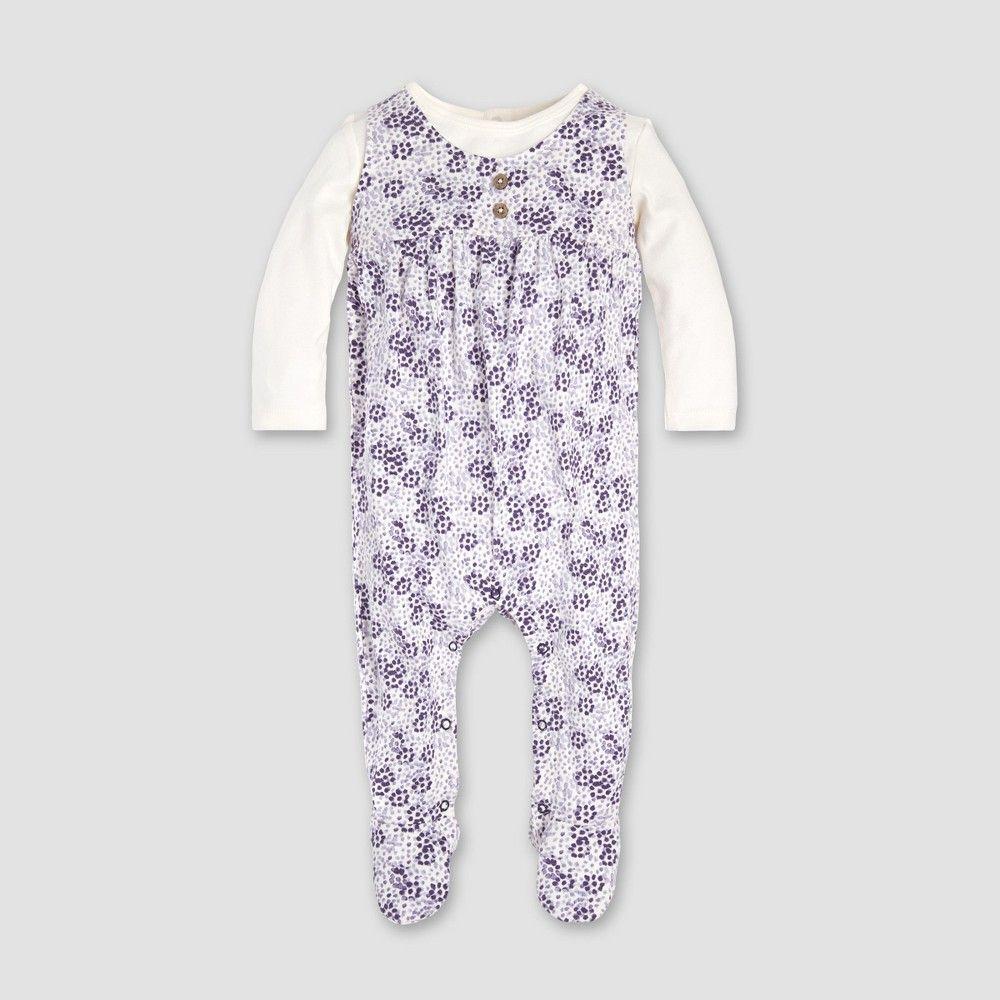 Burt s Bees Baby Baby Girls  Heavy Jersey Dotty Blooms 2fer Coverall -  Eggshell Newborn 431f305b55f0