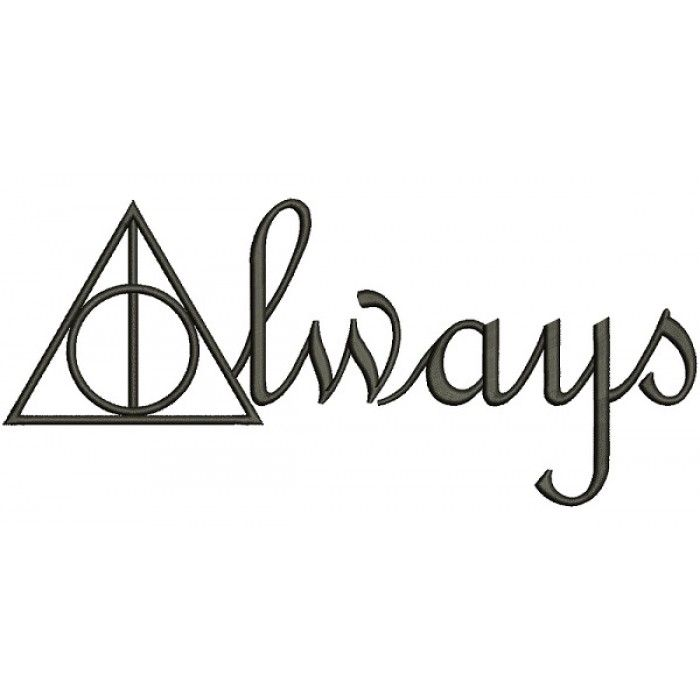 Always Deathly Hallows From Harry Potter Filled Machine Embroidery