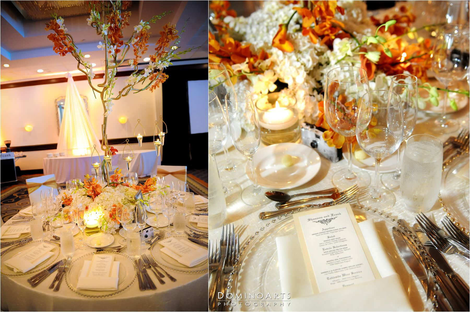 Wedding dinner table decoration beautiful wedding decoration and table centerpieces in orange by