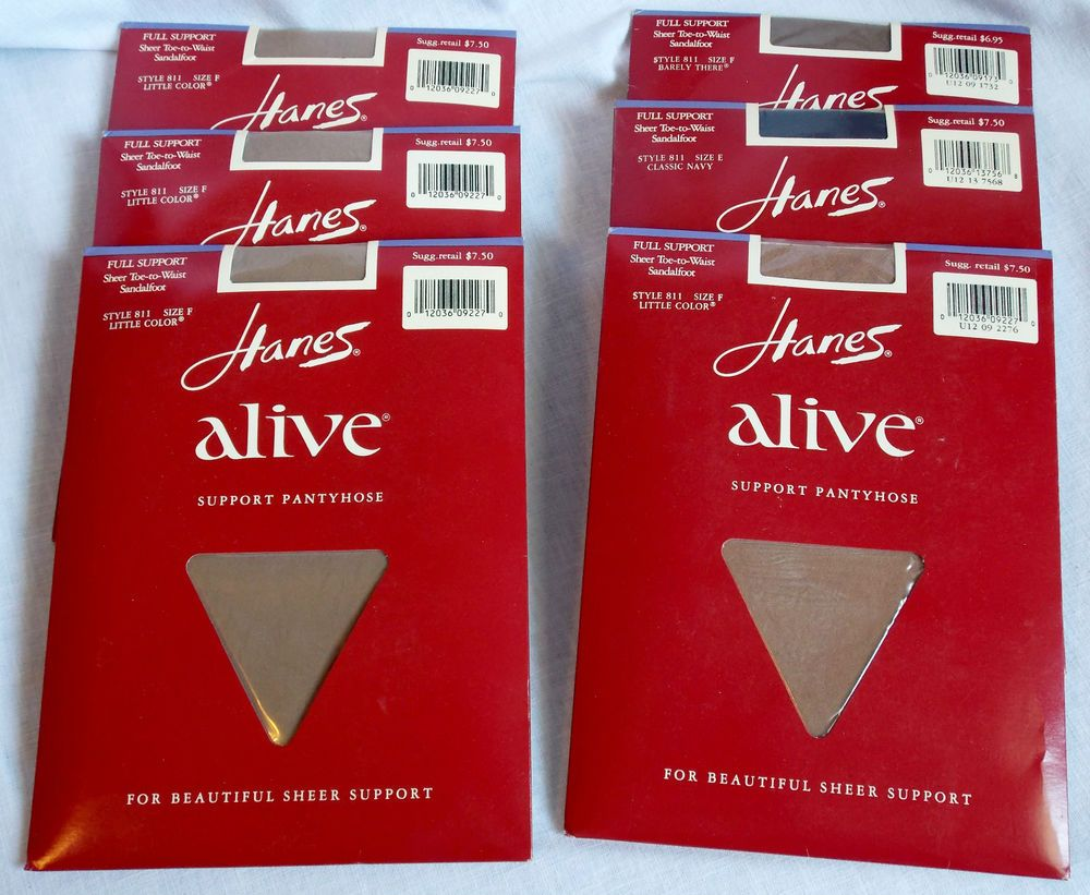 f65dc425db5 Lot of 6 Hanes Alive Support Pantyhose 5 Size F 1 Size E New Sealed Orig  Pkgs  Hanes  Pantyhose