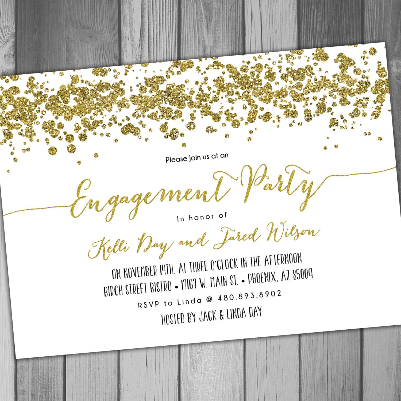 Engagement Party Engagement Invitation Printable Engagement Gold ...
