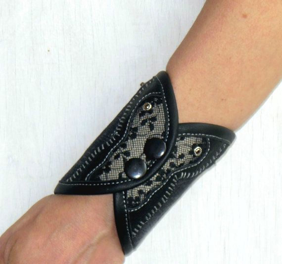 leather on denim lace etsy wrist pin cuff by wallet purse bracelet creativicky