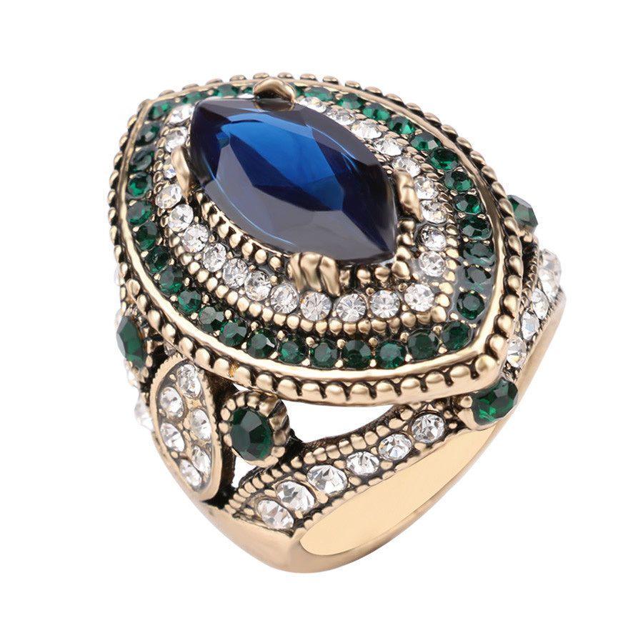 Exotic fashion jewelry - Exotic Turkish Hurrem Style Women S Cz Blue Sapphire Resin Fashion Rings New