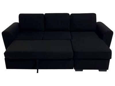 Canapé d angle convertible ASPEN coloris noir prix promo Conforama