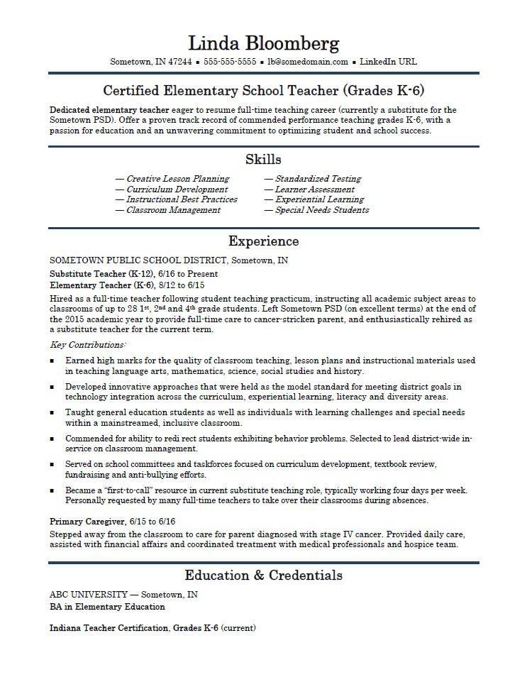Free teacher resume sample teacher resume examples