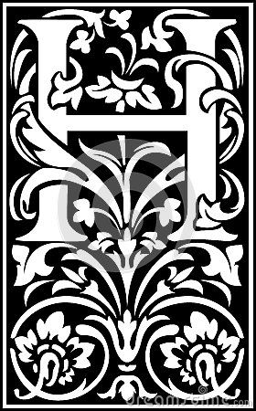 Flowers decorative letter h balck and white lettering pinterest flowers decorative letter h balck and white altavistaventures Choice Image