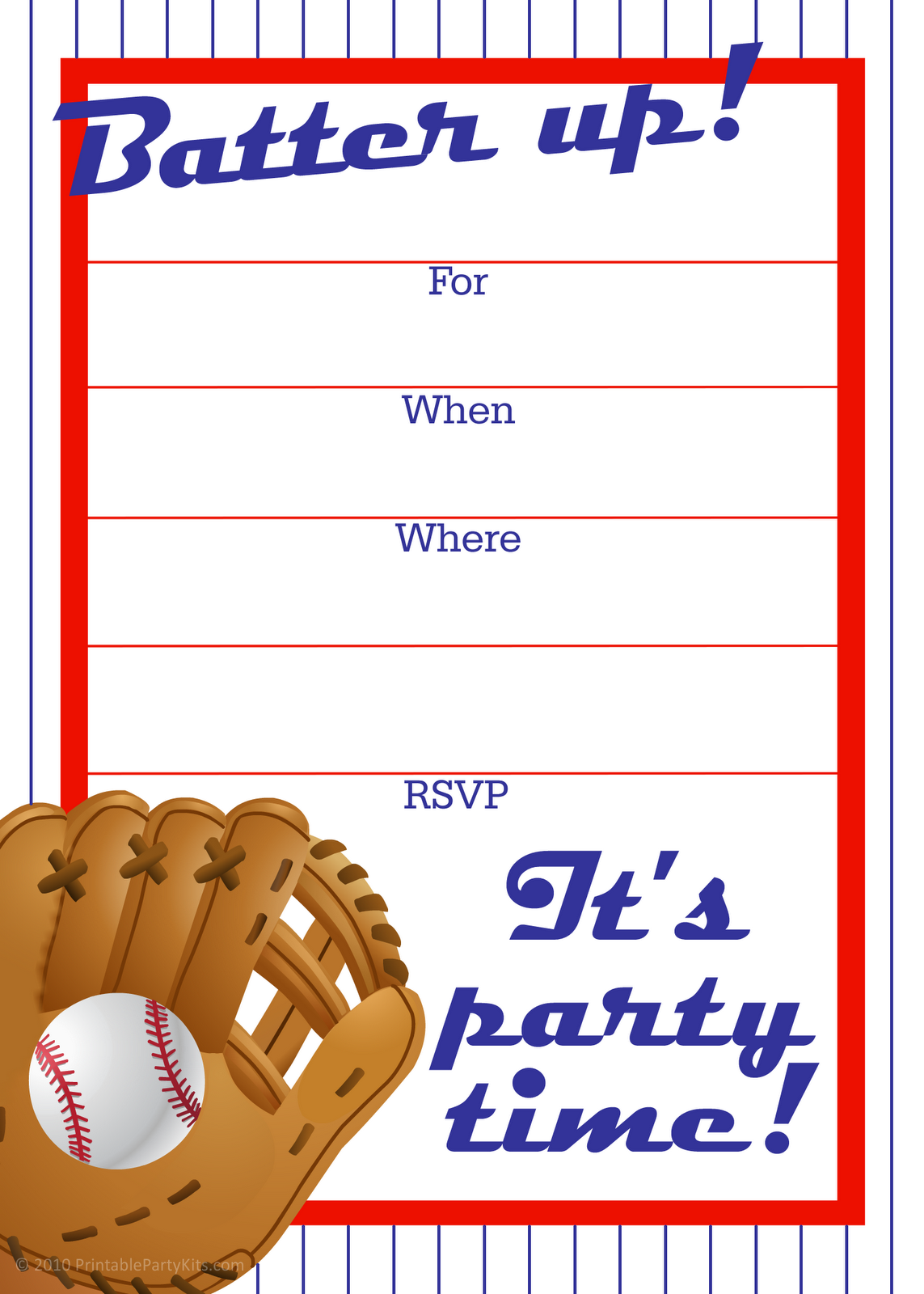 Free printable baseball party invitation – Free Kids Birthday Invites