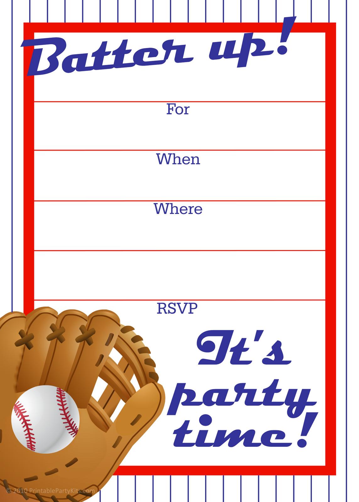 Free Printable Baseball Party Invitation Baseball Birthday