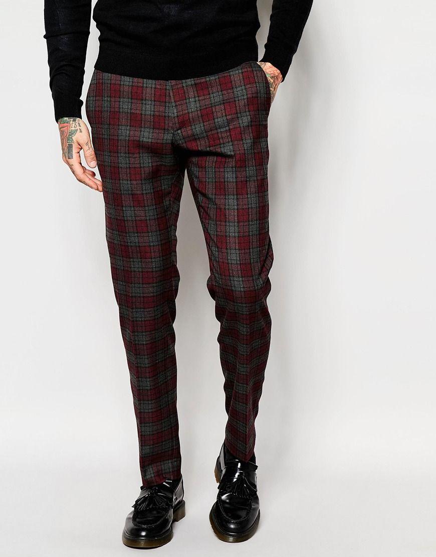 4f88f48c28677 ASOS Skinny Suit Trousers In Tartan Check