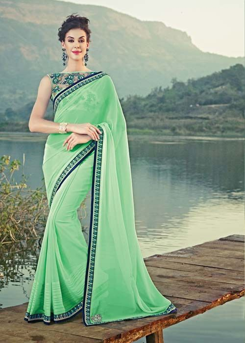 c72a62d00 Green Georgette Lace Work Plain Saree By Sahiba