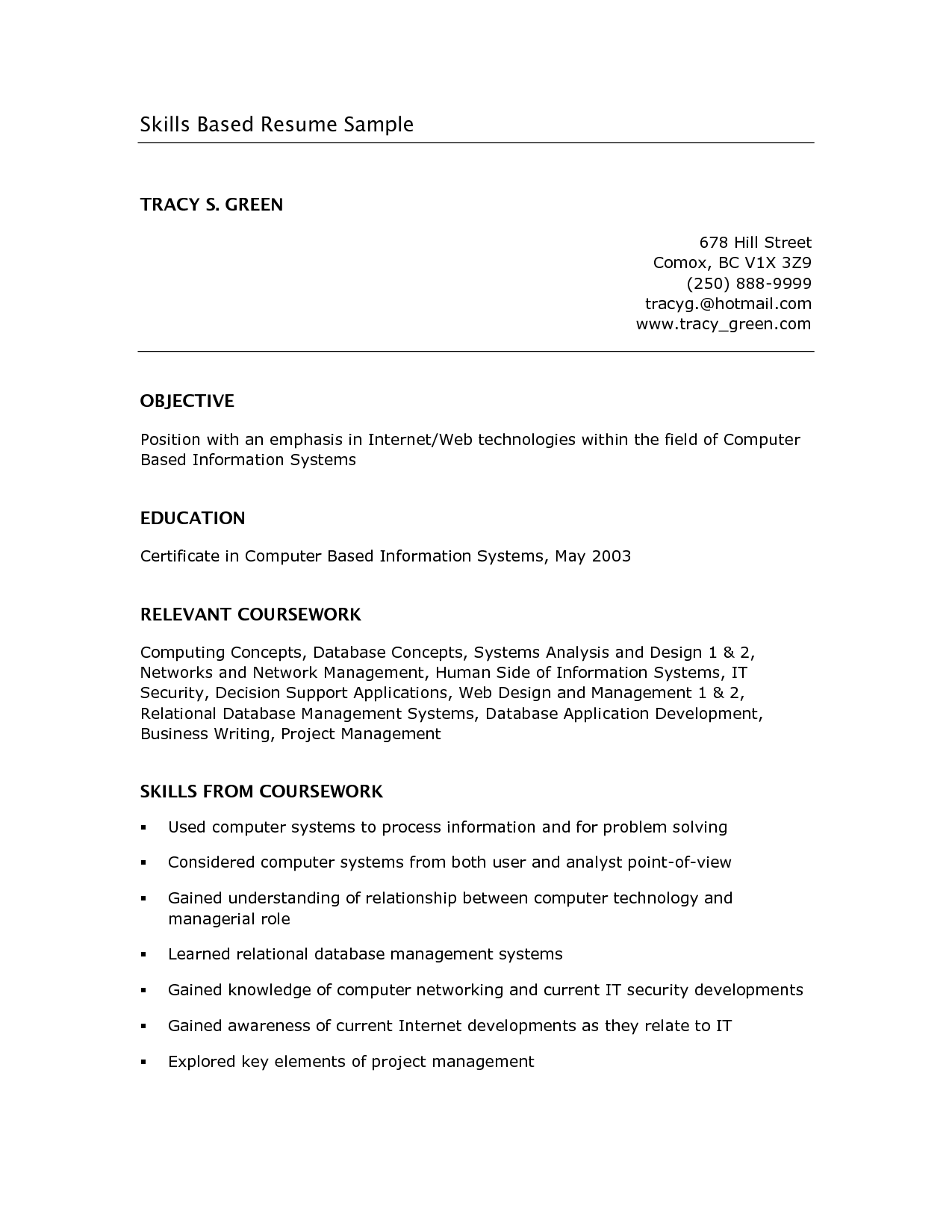 Skills Based Resume Example Google Search School Business