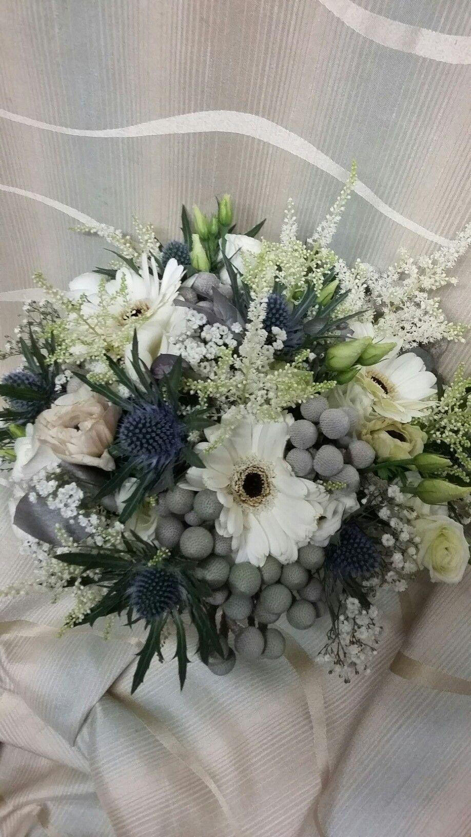 Bridal Bouquets Blossoms Beautiful Simple White Anenomes Germini Brunnia Thistle Astilbe Freesia Perfect