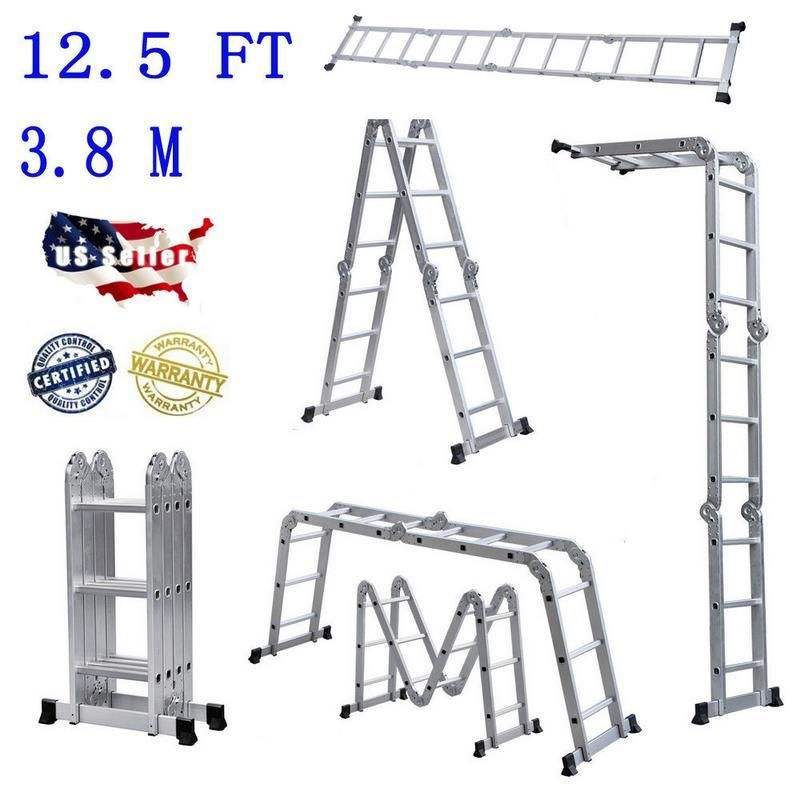 Practical 12 Step Joints Aluminum Folding Ladder Silver Household Folding Ladders Do Not Occupy A Place Pra Folding Ladder Aluminium Ladder Telescopic Ladder