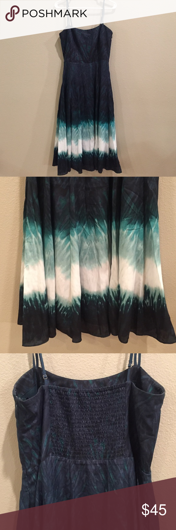 WHBM Spaghetti Strap Midi Dress; 8 White House Black Market Spaghetti Strap Midi Dress; Size 8.  Material is silky and flowy.  Colors are dark green, turquoise, light green, and white.  Worn once and in Like New Condition. White House Black Market Dresses