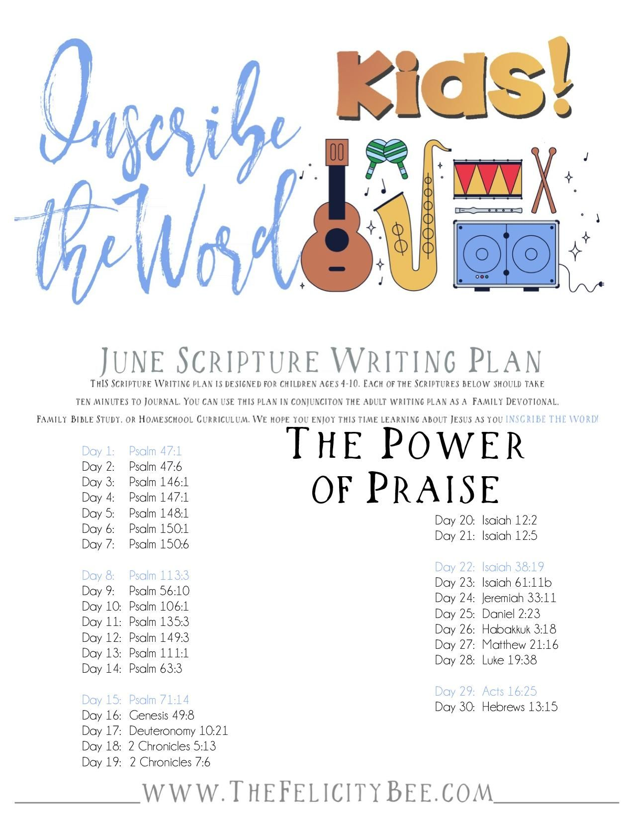 Inscribe The Word Kids June Scripture Writing Plan