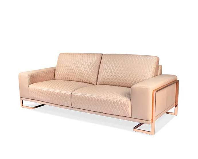 Aico Leather Sofa With Rose Gold Metal Trim Leather Sofas Aico Furniture Sofa And Loveseat Set Furniture
