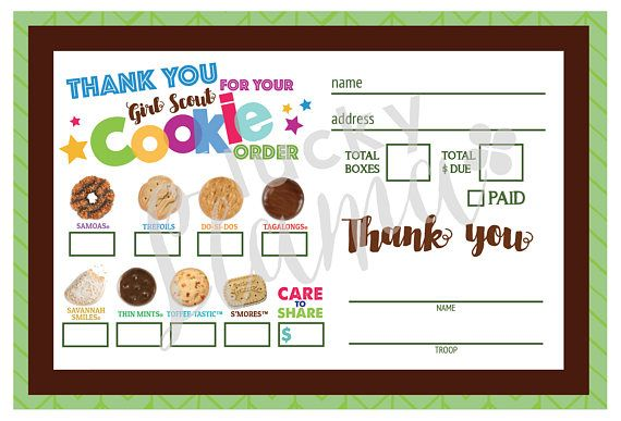 Listing Is For One Printable Girl Scout Mini Cookie Order Form