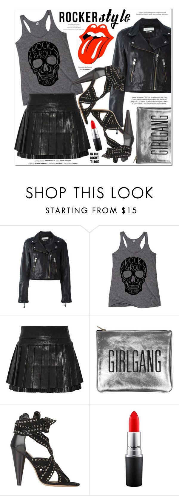 """""""I Can't Get No..."""" by monica-dick ❤ liked on Polyvore featuring Étoile Isabel Marant, Isabel Marant, Vision, MAC Cosmetics, rockerchic and rockerstyle"""