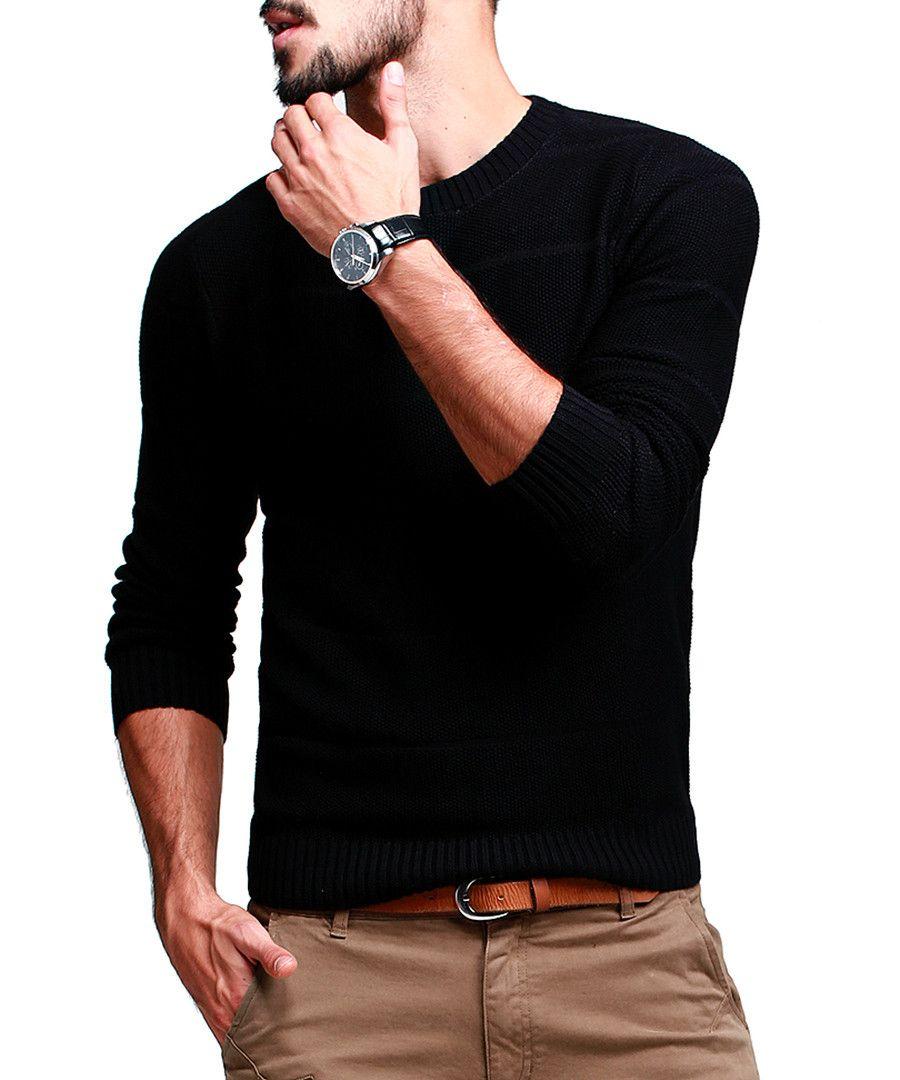 Black cotton blend knitted jumper Sale - KUEGOU