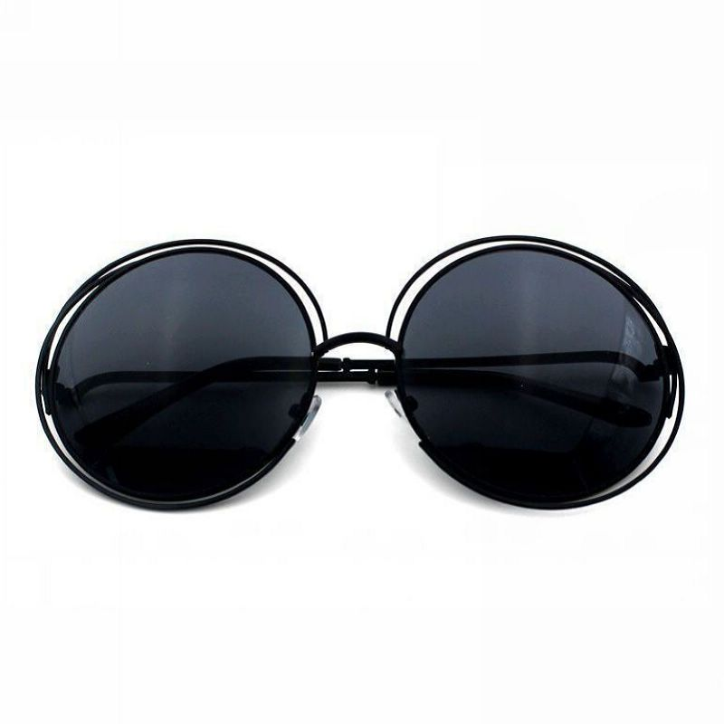 Womens Vintage Round Wire Oversized Sunglasses Metal Polished Black ...