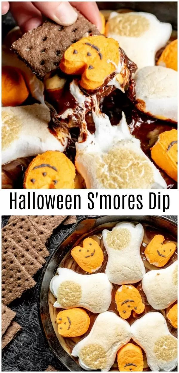 This easy Halloween S'mores Dip is baked in the oven to give you perfectly toasted marshmallows over delicious chocolate and peanut butter swirl made in the microwave. Chocolate chips, peanut butter chips, and Halloween Peeps make this easy Halloween dessert perfect for Halloween parties for kids or adults! #halloween #halloweenparty #smores #chocolate #marshmallows #partyfood #dip #sweettreats #homemadeinterest #marshmallows