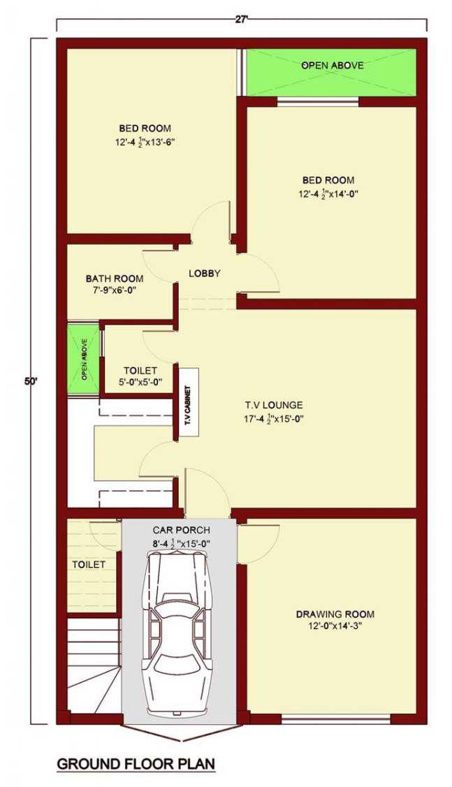 Small Bathroom Floor Plans Autocad: Ground Floor Plan 2 Bedrooms 1 Bathroom& 1 Toilet Kitchen