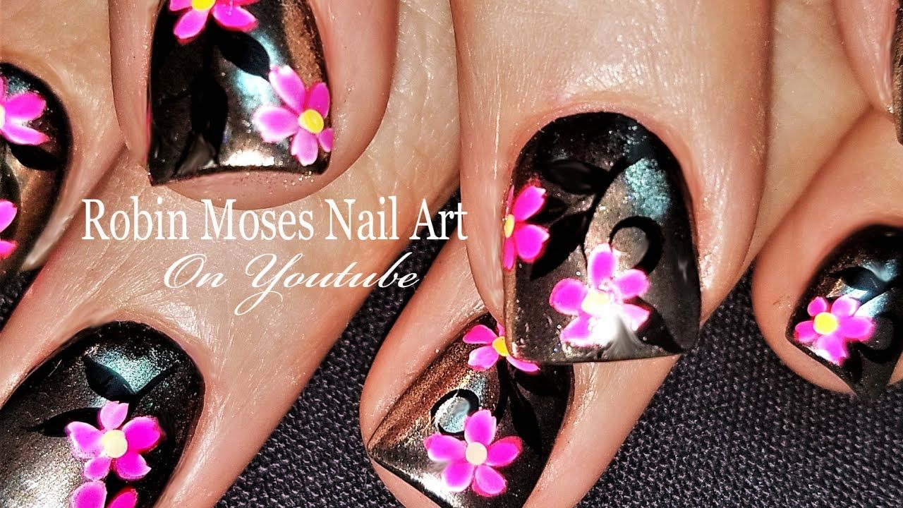 Silver w Pink Neon Daisy Nails | DIY Chrom Nail Art Design Tutorial ...