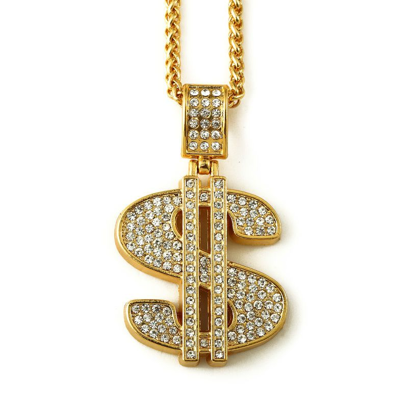 Hip hop goldkette  NYUK Gold Plated Hip Hop Bling Bling Dollar Sign Gold Chain ...
