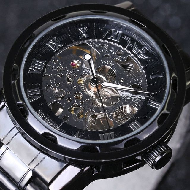 SEWOR Gold Men Skeleton Mechanical Watch Stainess Steel Steel Hand Wind Watches Transparent Steampunk Montre Homme Wristwatch