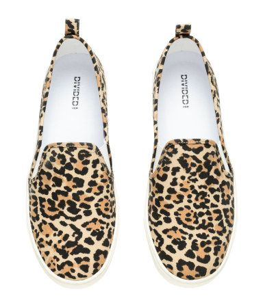 8ca5cb72bf08 Leopard print canvas slip-on sneaker. | H&M Shoes | H&M SHOE ...