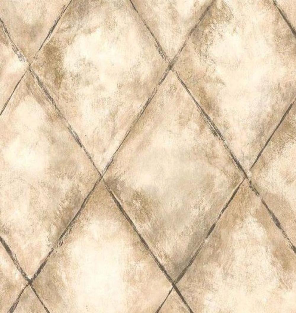 Ceramic Tile Look Wallpaper Diagonal Distressed Tuscan