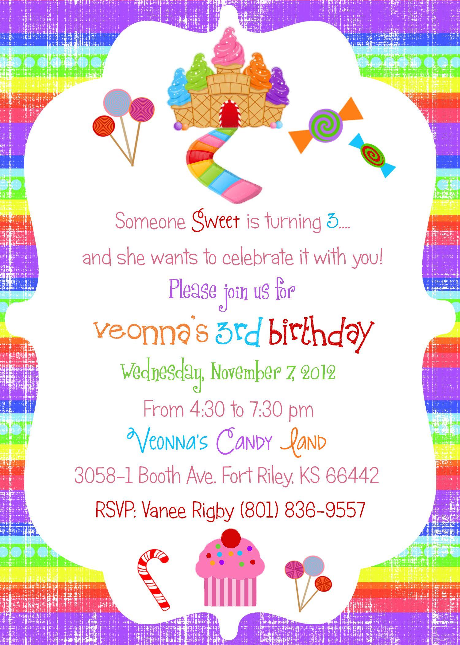Candyland Birthday   Birthday Invites   Pinterest   Candyland ...