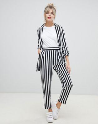 457298715fb48 ASOS DESIGN tailored tapered pants in bold mono stripe
