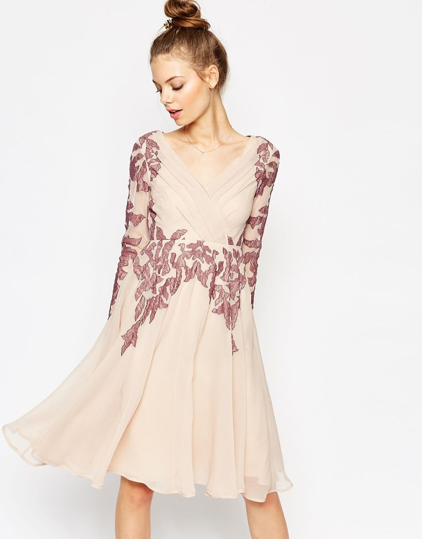 Love the feminine look of the Skater Midi: ASOS Lace Placed Kaftan ...